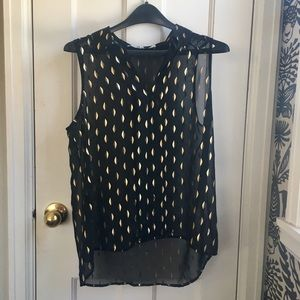 Black and gold sheer sleeveless top